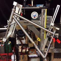 J-ason's 29er in the jig. #weavercycleworks #customframe #custombicycles