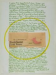 """an apple a day keeps the doctor away - An ENSO (circle) a Day ..."" 11. Sept 14: Little Boy: ""Pee"", Takes off his Trousers: Pee-Yellow Circle - Newspaper: ""Free Zone"" Bub: ""lulu"", zieht Hose runter, draussen schiffts: uringelber Kreis. Standard: Freiräume"