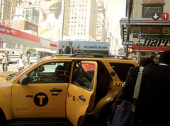 Rush Hour (Robert S. Photography) Tags: street nyc signs colour yellow race ads manhattan taxi midtown rush canonpowershot 2014 a3400