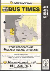 Merseytravel (Wirral) Timetable Route #401, 402, 501, 502 (From 9th August 1993) (Luke O'Rourke) Tags: merseytravel merseybus liverpool wirral westkirby birkenhead birkenheadwoodside crosville timetable timetables newbrighton bromborough bus