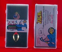 THE TICK AMERICAN MAID SPOON GOLD (vsndesigns) Tags: boy color stone museum kids club magazine naked toys gold book wooden tv funny comedy comic eli with little bell ben box zombie steel tie tshirt spoon super 45 taco american commercial 80s fox meal hero heroine indie and merchandise tick shocker limited edition promotional maid rare 90s collector totally thetick the edlund in scens a gbjr