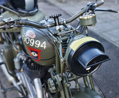 BSA WD M-20 500cc SV showing Mustard gas detector paint (radleyfreak) Tags: birminghamsmallarmscompany bsa motorbike worldwar2 dispatchrider militarymotorcycling welshguards mustardgasdetector tintern monmouthshire