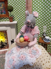 2. Knitting for Baby (Foxy Belle) Tags: mouse doll miniature clothing 112 scale handmade story mice felt poseable ooak craft wire dollhouse living room knit knitting fireplace tealight light