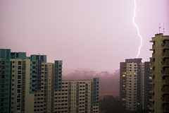 Lightning (drumbunkerdragon) Tags: lightning storm bolt sky rain heavy hdb flat singapore nikon df 55mm f28 ais weather mother nature first time taking picture this forgive me