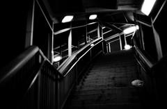 Pedestrian bridge (loongandrew) Tags: pedestrian bridge warden station ttc toronto ontario canada night light stairs film monochrome blackandwhite kodak 400tx trix minolta7s2 minolta7sii minolta