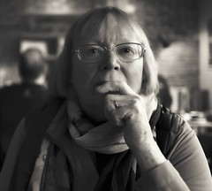 Portrait in a cafe (Time to try) Tags: portrait topaz leica leicaq timetotry monotone blackandwhite pensive availablelight candid splittone