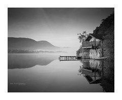 Ullswater_boathouse_LF-1 (D_M_J) Tags: ullswater boat house boathouse duke portland pooley bridge early morning sunrise lake district lakedistrict cumbria landscape reflection film camera large format 5x4 4x5 sheet field shen hao hzx45 150mm sinar sinaron ilford delta 100 kodak hc110 epson v850 vuescan black white bw mono monochrome blackandwhite