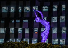 new tech park controversial sculpture (pbo31) Tags: california nikon d810 night black dark october 2016 fall bayarea boury pbo31 eastbay alamedacounty purple sculpture giant woman female sanleandro tech officepark marcocochrane art statue nude burningman