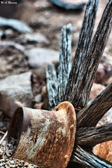 Spoked (wesleyramsey) Tags: wood spoke wheel rotted dry metal iron old rustic mining bokeh 50mm14 supertakumar supertakumar50mm sony sonynex5t desert m42