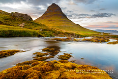 Church Mountain Falls (rkpunnamraju) Tags: outdoor sea serene mountain water landscape sunset plant foliage bay rock foothill lake waterfall river waterfront hill iceland kirkjufell church