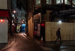 After Dark (stevedexteruk) Tags: fitzrovia hanway street london uk 2016 night dark construction hoarding signage bureau de change