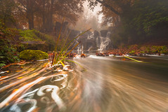 Misty Cascade (Jerry Fryer) Tags: virginiawater waterfall river mist autumn landscape 5dmk2 leepolariser 6ndsoft orange thecascade