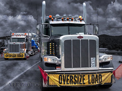 Heavy-haul (VFR Photography) Tags: tullyridge lewiscounty westvirginia wv peterbilt 379 389 2007 2016 heavyhaul truck trucks trucking transportation transport oversize oversized wideload wideloads shipping selectivecolor bw blackandwhite surreal cloud clouds skies sky unitedstates