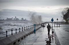 Walking the dog. (f22photographie) Tags: newbrighton wirral merseyside rivermersey hightide weather stormyweather water walking dogwalking waves leicase