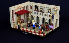 Grand Merchant Tajir (jsnyder002) Tags: lego moc mosaic interior medieval castle tan throne room window floor wall balcony arch column pattern carpet merchant ccc kaliphlin awning