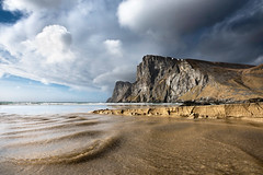 Tiny Waves of Kvalvika Beach (Danil) Tags: kvalvika beach norway lofted lonely sand river stream flow low viewpoint angle wide mountain rite travel hiking daniel bosma landscape atlantic ocean water waves cloudscape erosion