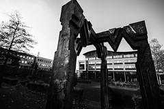 Gorinchem city hall (bjdewagenaar) Tags: architecture black white bw blackandwhite blackwhite mono monochrome buildings urban sculpture art perspective lines sigma wide angle 10mm sony a58 alpha gorinchem gorcum holland dutch raw lightroom