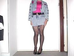 Outfit Of The Day (ceskadevka_rk) Tags: denimjacket denimskirt belt pinktop nylon stockings nylonstockings heels rippeddenim sexy ceska devka
