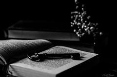 La clave (A. del Campo) Tags: nikon nikkor nikond7000 bokeh blancoynegro blackandwhite monocromo monochrome spain stilllife bodegn light shadows naturallight creatividad boke llave libro