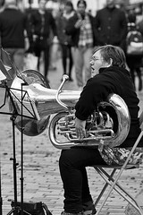 Tuba player, Salvation Army, Canterbury (chrisjohnbeckett) Tags: tuba brass instrument performer musician music salvationarmy band portrait bw blackandwhite people monochrome candid street urban chrisbeckett canonef135mmf2lusm canterbury fotodivertenti