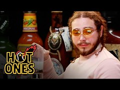 Post Malone Sauces on Everyone While Eating Spicy Wings | Hot Ones (Download Youtube Videos Online) Tags: post malone sauces everyone while eating spicy wings | hot ones