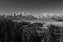 The trees have grown since 1942 (alideniese) Tags: grandtetonnationalpark snakeriveroverlook wyoming usa mountains river mountainrange northamerica blackandwhite monochrome nature trees forest landscape thetetons