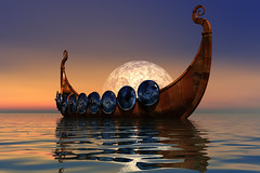 Viking Boat 2 (okayred) Tags: ocean voyage travel sea people moon history water norway night denmark boat wooden iceland ancient war europe sailing ship background culture sailors wave battle medieval atlantic fantasy journey armor greenland sail rowing oar civilization shield warriors nordic mast nautical explorers viking norsemen scandinavian rudder navigate norse celts seafaring navigators shipbuilder