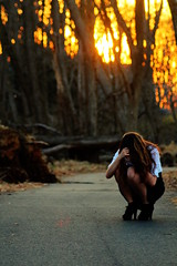 Insecure (Glassoceans) Tags: sunset portrait woman sun girl canon photography model bokeh fear faceless hiding crouch goldenhour