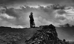 Lonely Walker (appleonthetree) Tags: china trip people blackandwhite bw cloud mountain hill tibet walker lonely