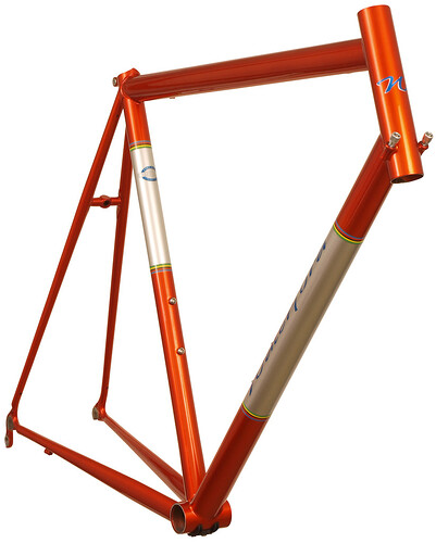 <p>Front view of Waterford 33-Series Race Ready in Orange Glow over Sterling SIlver with Silver Panels and Waterford's world Championship color bands.</p>