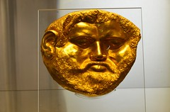 Funeral mask in gold, end of 5th cent. BCE, Sofia Archeological Museum (Prof. Mortel) Tags: sofia bulgaria archeologymuseum
