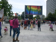 "Rainbow Flag on the Big Screen - Plymouth • <a style=""font-size:0.8em;"" href=""https://www.flickr.com/photos/66700933@N06/14689848360/"" target=""_blank"">View on Flickr</a>"
