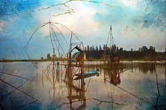 Fishing with a bamboo square dip net (ulli_p) Tags: blue light sky lake reflection art texture nature water colors landscape thailand fishing asia southeastasia colours textured isan likeapainting aworkofart flickraward texturedphoto ruralthailand unseenasia earthasia awardtree totallythailand artofimages exoticimage canoneoskissx5