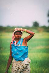 Rice farming (Gianpaolo Fusari) Tags: woman india field clouds rural nikon rice farmers tribal chhattisgarh jagdalpur nikond40 afsdxzoomnikkor1855mmf3556gedii vscofilm