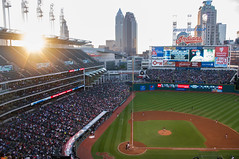 Cleveland Indians vs Arizona DBacks (pasipictures) Tags: ohio summer arizona usa sunshine skyline baseball cleveland bluesky indians dbacks august14th progressivefield tribecity