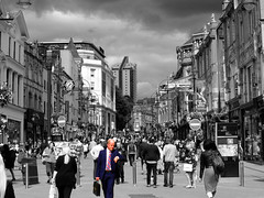 Appointment (tubblesnap) Tags: city bw white man black color colour centre crowd leeds spot business rush hour late selective briggate