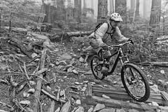 Riding is pretty black and white (fbcanada33) Tags: mountain bike vancouver bc mtb fromme