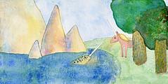 (Chudakova Tanya) Tags: illustration watercolor unicorn narwhal monoceros