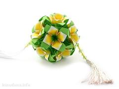 Flower kusudama (ronatka) Tags: kusudama gift withbeads green yellow harmonypaper square flowersorigami