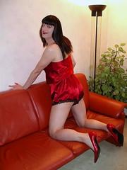 Teddy and pumps (Paula Satijn) Tags: red sexy girl smile shiny pumps teddy legs silk bum tgirl tranny transvestite satin gurl playsuit