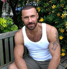 612 (rrttrrtt555) Tags: hairy smile muscles tattoo garden bench hair buzz beard necklace arms legs chest chain stare shorts buzzcut wifebeater stubble