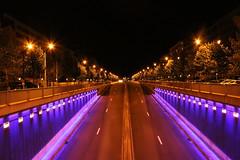 Tervuren Road (maximedemiere) Tags: road light black night gold highway purple bruxelles brussel