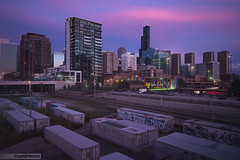 Pink tho (Brian Koprowski) Tags: city longexposure pink bw chicago skyline architecture night graffiti nikon downtown apartments searstower traintracks chi bluehour condos halsted windycity 10stops nikkor1635 10stopper briankoprowski bkoprowski