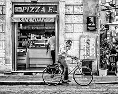 Take Out Food (dkphoto7) Tags: street people bw food rome bicycle nikon pizza takeout d800