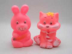 Pink Squeakers (The Moog Image Dump) Tags: pink school cute rabbit bunny cat toy vinyl tie kawaii figure squeaker squeaky
