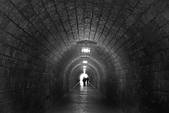 Pedestrian tunnel to the Eagles Nest (keinidyll) Tags: people bw tunnel light shadow berchtesgaden eaglesnest blinkagain kehlsteinhaus vanagram