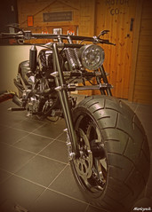 Black Ice.. (Harleynik Rides Again.) Tags: chopper harleydavidson motorcycle hd custombike shd fattyre harleynikridesagain