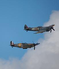 Spitfire and Hurricane at Scottish Airshow Prestwick Airport (cmax211) Tags: scotland airport hurricane scottish blurred airshow spitfire prestwick lowcontrast ayrshire egpk mediumquality