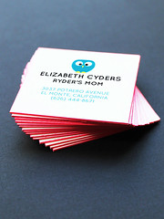 Fluffy Owl Business Cards with Red Painted Edge | Oubly.com