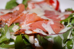 Smoked salmon on a bed of rocket salad and tomatoes with honey and mustard dressing (WorldClick) Tags: canon tomato photography eos photo salad lemon bed flickr photographer with tomatoes salmon vivid dressing honey photograph mustard rocket capture smoked phototgraphy 1100d canoneos1100d worldclick smokedsalmononabedofrocketsaladandtomatoeswithhoneyandmustarddressing